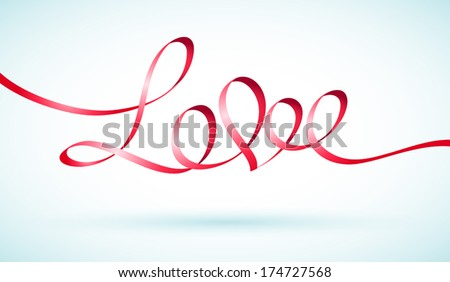 Vector illustration of a red ribbon is a shape of the word love with a heart  - stock vector