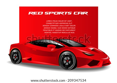vector illustration of a red sports car - stock vector