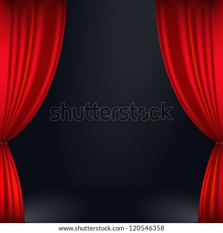 Vector illustration of a red stage curtain - stock vector