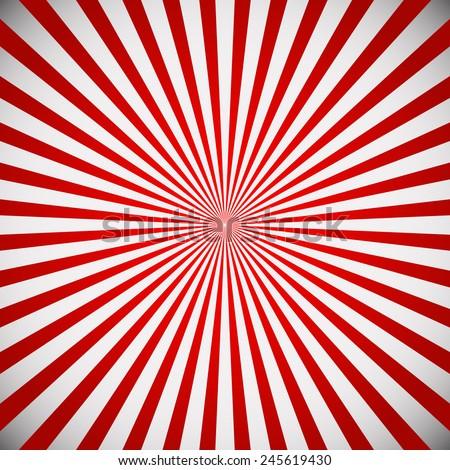 Vector illustration of a red star burst, sunburst background. Radiating lines from center. Eps 10 vector. - stock vector