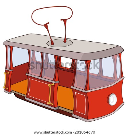 Vector illustration of a red tram.