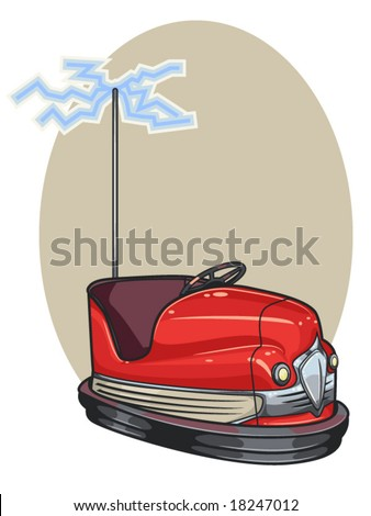 vector illustration of a retro bumper car - stock vector