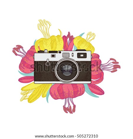 Vector illustration of a retro photo camera and bright flowers.