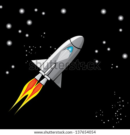 vector illustration of a retro rocket ship space vehicle blasting off into the sky. space shuttle flying up. - stock vector