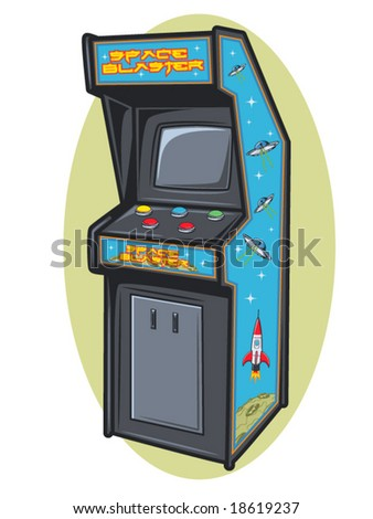 vector illustration of a retro video game console - stock vector