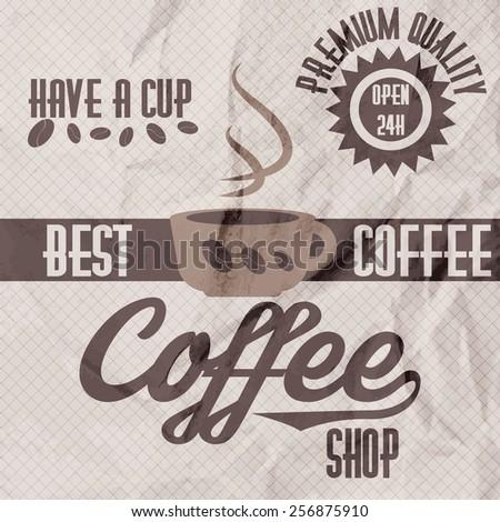 Vector illustration of a retro vintage coffee shop crumpled paper brochure - stock vector