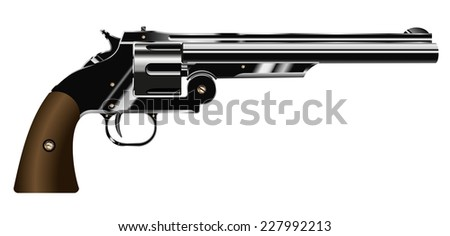 vector illustration of a revolver isolated on white background