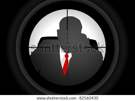 Vector illustration of a rifle lens aiming a person - stock vector