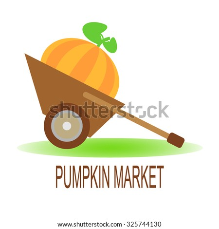 Vector illustration of a ripe pumpkin in a hand barrow. Orange pumpkin with green leaves in a cart. Large pumpkin in a hand cart. Autumn crop concept. Pumpkin market concept. Wheelbarrow with pumpkin. - stock vector