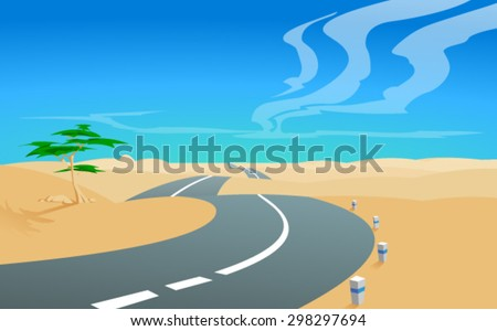 Vector illustration of a road, aiming for a horizon in the deserted  landscape, with a blue sky and clouds in the background. Empty space leaves room for design elements,  custom signs or text.Poster. - stock vector