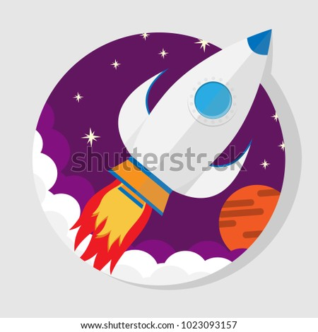 vector illustration of a rocket flying into space flat