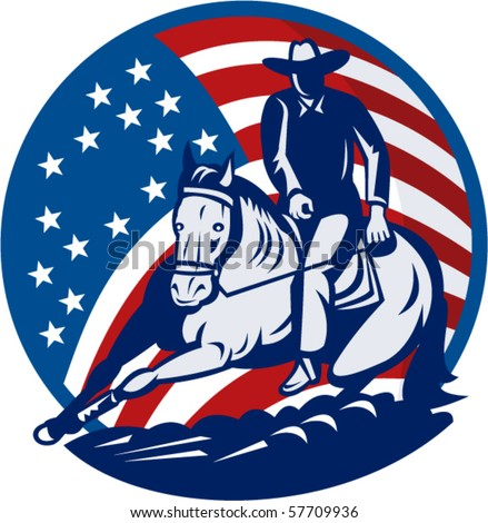 vector illustration of a Rodeo cowboy horse cutting stars and stripes in the background