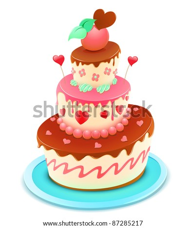 Vector illustration of a romantic tiered cake decorated with flowers and funky hearts - stock vector
