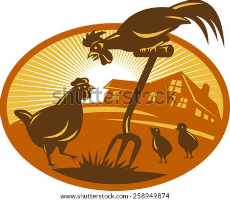 vector illustration of a rooster crowing on top of spade shovel with hen chicken and chicks and cottage farm house barn in background set inside oval with sunburst done in  retro style. - stock vector