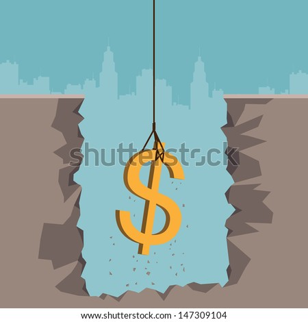 Vector illustration of a rope pulling out a dollar currency sign from the earth. - stock vector