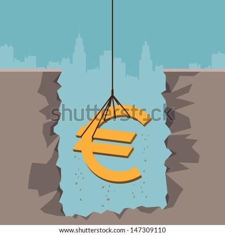 Vector illustration of a rope pulling up an Euro currency sign from the earth. - stock vector