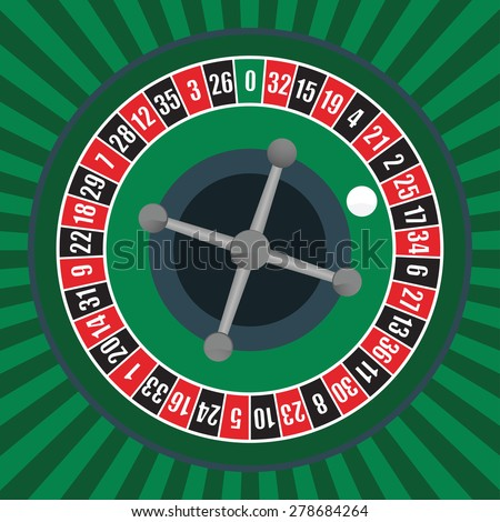 vector illustration of a roulette wheel - stock vector