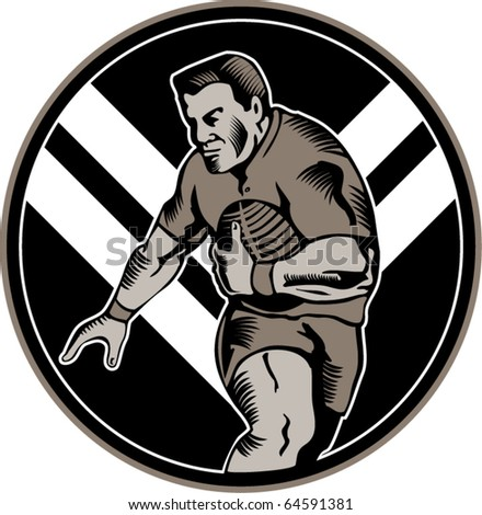 vector illustration of a Rugby league player running with ball set inside oval with chevron in background set in circle done in woodcut style - stock vector
