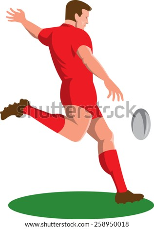 vector illustration of a rugby player kicking ball viewed from side done in retro style. - stock vector