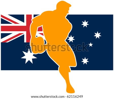vector Illustration of a rugby player running passing ball with flag of flag of australia - stock vector