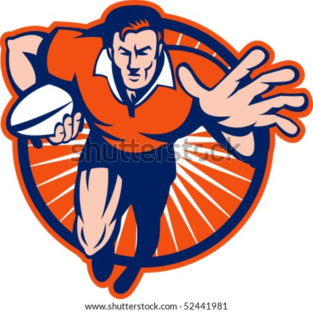 vector illustration of a Rugby player running towards you fending off set inside a circle - stock vector