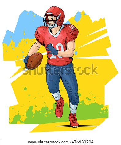 Vector illustration of a rugby player running with the ball. Beautiful sport themed poster. Abstract background, team game, summer sports, american football player