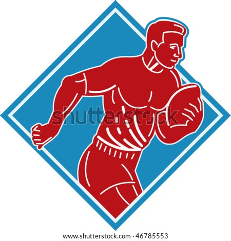 vector illustration of a rugby player running with the ball set inside a diamond