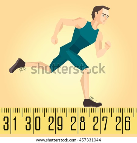 Vector illustration of a running athlete on the measuring tape - stock vector