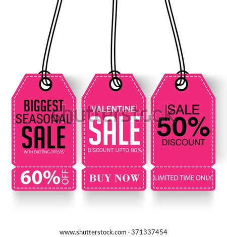 Vector illustration of a Sale Tag for Valentines Day.