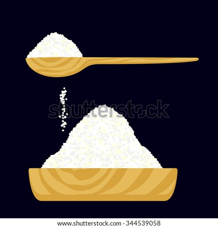 Vector illustration of a salt or sugar in a wooden bowl and in a wooden spoon. - stock vector