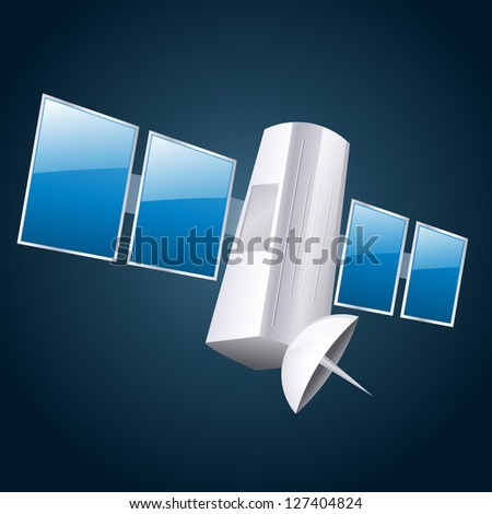 vector illustration of a satellite - stock vector