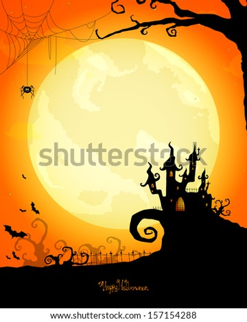 Vector Illustration of a Scary Halloween Card