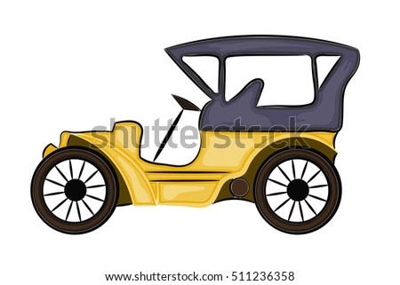 Vector illustration of a schematic drawing of abstract vintage car