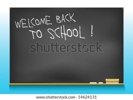 vector illustration of a school blackboard saying welcome back to school - stock vector