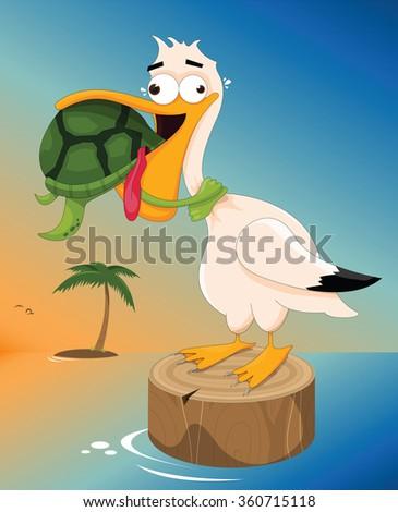 vector illustration of a sea turtle choking a pelican - stock vector