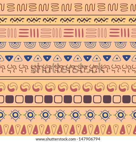 Vector Illustration of a Seamless Ethnic Pattern Background