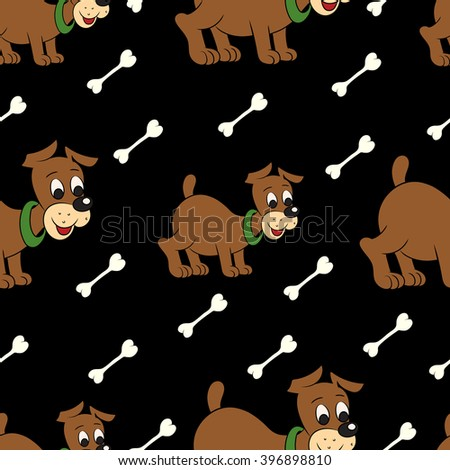 Vector illustration of a seamless pattern of cute puppy with bone on black background