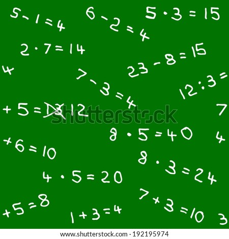vector illustration of a seamless pattern of math homework on a blackboard