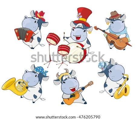 Vector illustration of a Set of a Cute Cartoon Cows Musicians for you Design