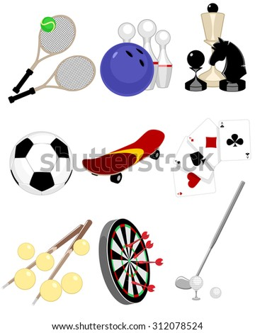 Vector illustration of a set of a nine games