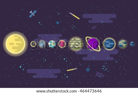 Vector Illustration Set All Planets Solar Stock Vector Royalty Free - Map of all planets