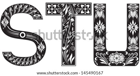 Vector illustration of a set of alphabet letters in graphic style