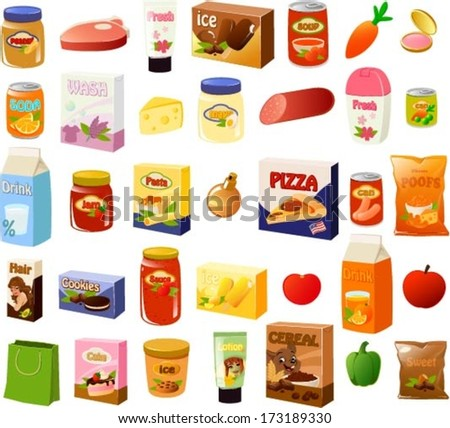 Vector illustration of a set of an average mom's stereotypical food items. - stock vector