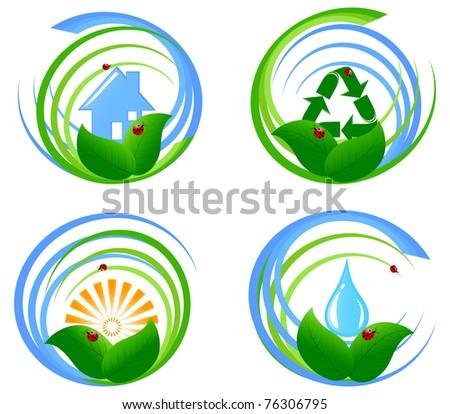 Vector illustration of a set  of an environmental design elements. - stock vector