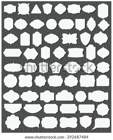 Vector illustration of a set of 62 blank frames for your art and design - stock vector