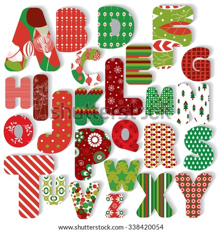 Vector illustration of a set of bright alphabet letters for Christmas and New Year designs and decorations - stock vector