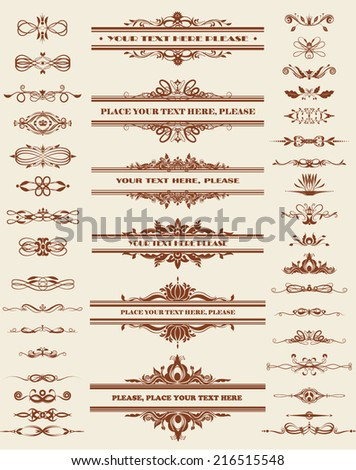 Vector illustration of a set of calligraphic dividers and floral page elements
