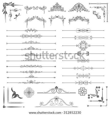 Vector illustration of a set of calligraphic dividers and floral page elements, corners and frames for scrapbook and other designs