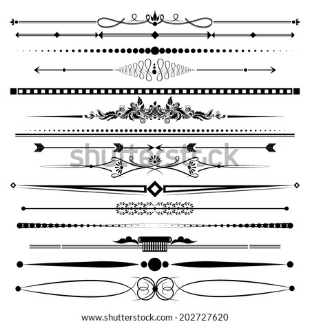 Vector illustration of a set of chapter dividers and floral/ornamental lines - stock vector