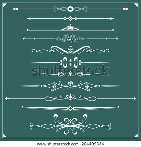 Vector illustration of a set of chapter dividers and floral/ornamental lines